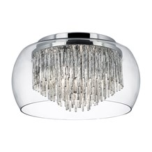 Curva Clear Glass Shade 4 Light Fitting With Aluminium Spiral Tubes