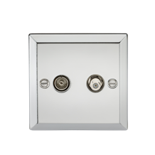 TV & SAT TV Outlet (isolated) - Bevelled Edge Polished Chrome