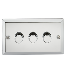 3G 2 Way 40-400W Dimmer - Bevelled Edge Polished Chrome