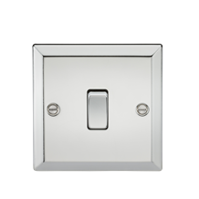 10A 1G 2 Way Plate Switch - Bevelled Edge Polished Chrome