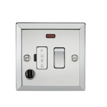 13A Switched Fused Spur Unit with Neon & Flex Outlet - Bevelled Edge Polished Ch