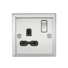 13A 1G DP Switched Socket with Black Insert - Bevelled Edge Polished Chrome