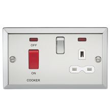 45A DP Cooker Switch & 13A Switched Socket with Neons & White Insert - Bevelled