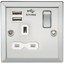 13A 1G Switched Socket Dual USB Charger Slots with White Insert - Bevelled Edge