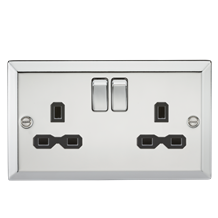 13A 2G DP Switched Socket with Black Insert - Bevelled Edge Polished Chrome
