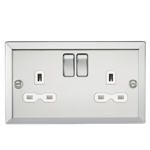 13A 2G DPSwitched Socket with WhiteInsert - Bevelled Edge Polished Chrome