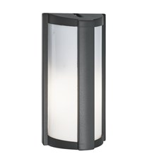 Dark Grey Ip44 Half Cylinder Outdoor Wall Light With Polycarbonate Lens