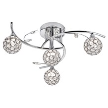 Dimples Chrome 4 Light Semi-flush With Round Glass Button Shades