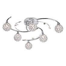 Dimples Chrome 6 Light Semi-flush With Round Glass Button Shades