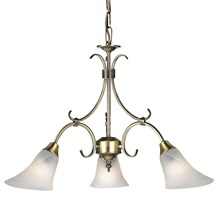 Hardwick Antique Brass Effect Frosted Glass Shade 3 Light Pendant Endon 144-3AN