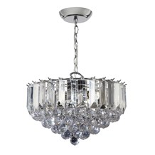 Fargo Polished Chrome Clear Acrylic Detailing 3 Light Pendant Endon FARGO-14CH