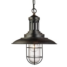 Fisherman Black Gold Ceiling Light With Caged Shade