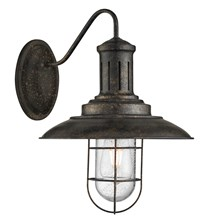 Fisherman Black Gold Wall Light With Caged Shade