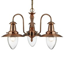 Fisherman Copper 3 Light Fitting With Oval Seeded Glass Shades