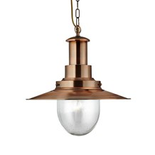 Fisherman Copper Ceiling Light With Oval Seeded Glass Shade