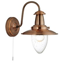 Fisherman Copper Wall Light With Oval Seeded Glass Shade