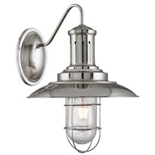 Fisherman Satin Silver Wall Light With Caged Shade