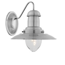 Fisherman Satin Silver Wall Light With Clear Glass Shade