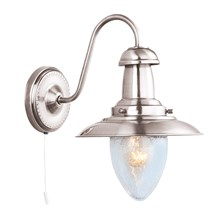 Fisherman Satin Silver Wall Light With Oval Seeded Glass Shade