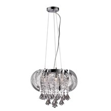 Fountaine Chrome 3 Light Fitting With Crystal Drops & Weave Net Trim