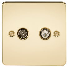Flat Plate TV & SAT TV Outlet (isolated) - Polished Brass