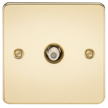 FP0150PB Flat Plate 1G SAT TV Outlet (non-isolated) - Polished Brass