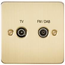FP0160BB Flat Plate Screened Diplex Outlet (TV & FM DAB) - Brushed Brass