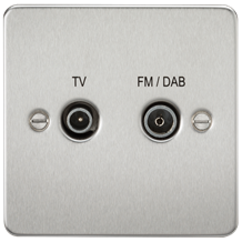 FP0160BC Flat Plate Screened Diplex Outlet (TV & FM DAB) - Brushed Chrome