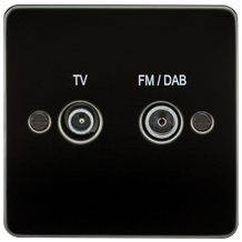 FP0160GM Flat Plate Screened Diplex Outlet (TV & FM DAB) - Gunmetal