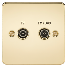 FP0160PB Flat Plate Screened Diplex Outlet (TV & FM DAB) - Polished Brass
