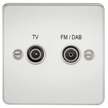 FP0160PC Flat Plate Screened Diplex Outlet (TV & FM DAB) - Polished Chrome