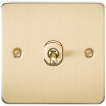 FP12TOGBB Flat Plate 10AX 1G Intermediate Toggle Switch - Brushed Brass