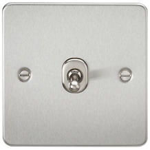 FP1TOGBC Flat Plate 10AX 1G 2 Way Toggle Switch - Brushed Chrome