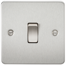 FP2000BC Flat Plate 10AX 1G 2 Way Switch - Brushed Chrome