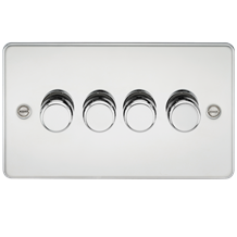 Flat Plate 4G 2 Way Dimmer 60-400W - Polished Chrome