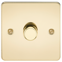 Flat Plate 1G 2 way 10-200W (5-150W LED) trailing edge dimmer - Polished Brass