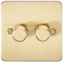 Flat Plate 2G 2 way 10-200W (5-150W LED) trailing edge dimmer - Brushed Brass