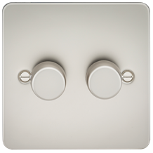 Flat Plate 2G 2 way 10-200W (5-150W LED) trailing edge dimmer - Pearl