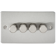 Flat Plate 4G 2 way 10-200W (5-150W LED) trailing edge dimmer - Brushed Chrome