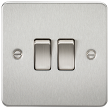 Flat Plate 10A 2G 2-way switch - brushed chrome