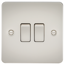 Flat Plate 10A 2G 2-way switch - pearl