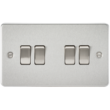 FP4100BC Flat plate 10AX 4G 2-way switch - brushed chrome