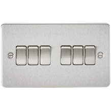 Flat Plate 10A 6G 2-way switch - brushed chrome
