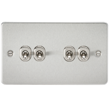 Flat Plate 10A 4G 2-way toggle switch - brushed chrome