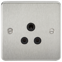 FP5ABC Flat Plate 5A unswitched socket - brushed chrome with black insert