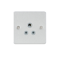 FP5ABCG Flat plate 5A unswitched socket - brushed chrome with grey insert