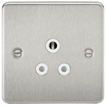 FP5ABCW Flat Plate 5A unswitched socket - brushed chrome with white insert