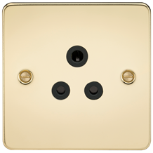 FP5APB Flat Plate 5A unswitched socket - polished brass with black insert