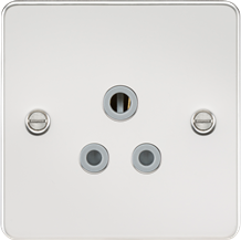 FP5APCG Flat plate 5A unswitched socket - polished chrome with grey insert