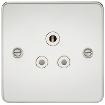 FP5APCW Flat Plate 5A unswitched socket - polished chrome with white insert